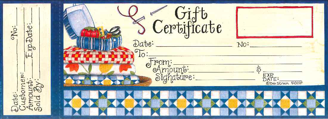 "# 401sp ""Quilting Time"" Gift Certificates"