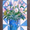 "#SN-106 ""Blue & White Quilt with Flowers"" Notecards"